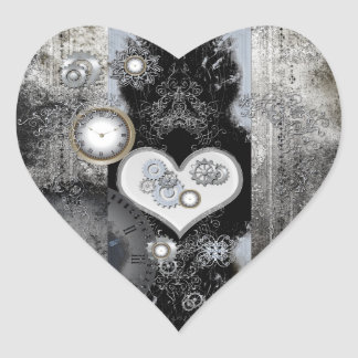 Steampunk, wonderful heart with clocks and gears heart sticker