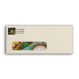 Steampunk, wonderful heart with clocks envelope