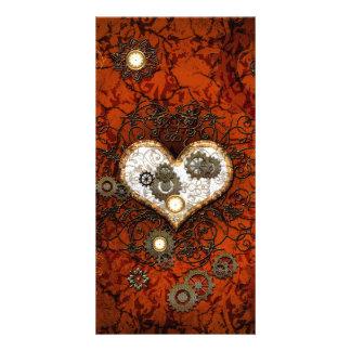 Steampunk, wonderful heart with clocks photo card