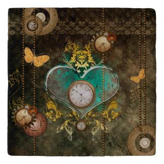 Steampunk, wonderful heart with clocks trivet