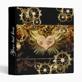 Steampunk, wonderful heart with gears 3 ring binder