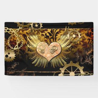 Steampunk, wonderful heart with gears banner