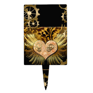 Steampunk, wonderful heart with gears in gold cake topper