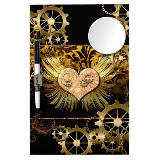 Steampunk, wonderful heart with gears in gold dry erase board with mirror