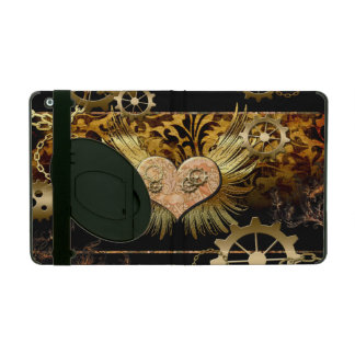 Steampunk, wonderful heart with gears in gold iPad case