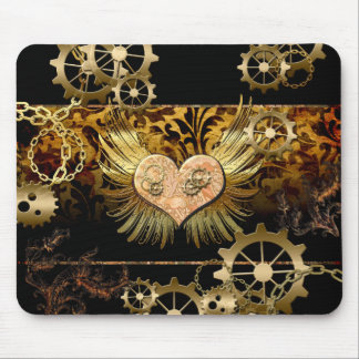 Steampunk, wonderful heart with gears in gold mouse pad