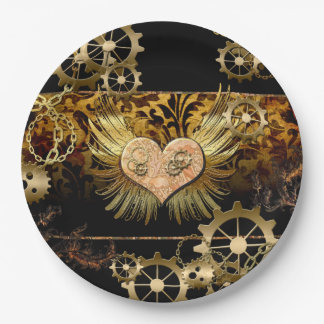 Steampunk, wonderful heart with gears in gold paper plate