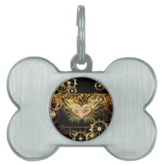 Steampunk, wonderful heart with gears in gold pet name tag
