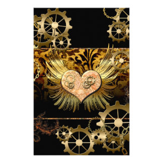 Steampunk, wonderful heart with gears in gold stationery