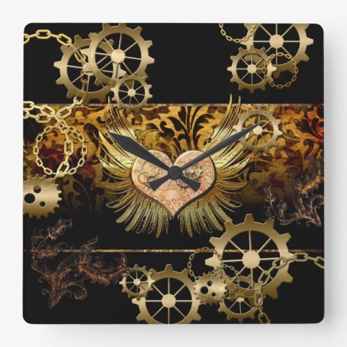 Steampunk, wonderful heart with gears square wallclocks