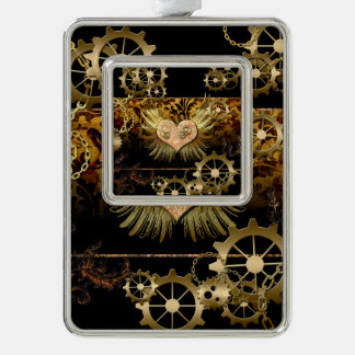 Steampunk, wonderful heart with golden gears christmas ornament