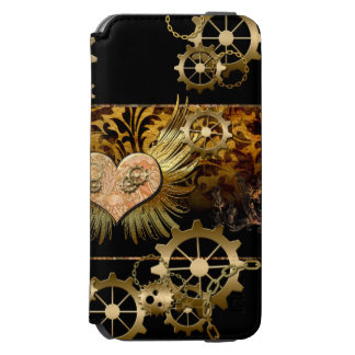 Steampunk, wonderful heart with golden gears iPhone 6/6s wallet case