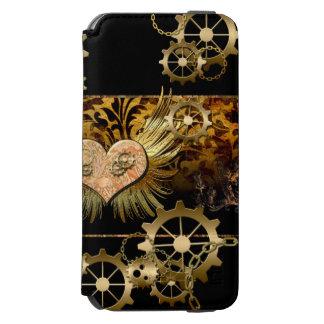 Steampunk, wonderful heart with golden gears iPhone 6/6s wallet case