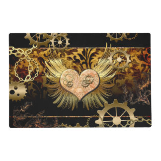 Steampunk, wonderful heart with golden gears placemat