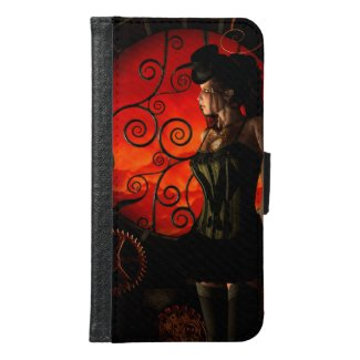Steampunk, wonderful steampunk lady in the night wallet phone case for samsung galaxy s6