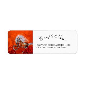 Steampunk, wonderful wild steampunk horse label