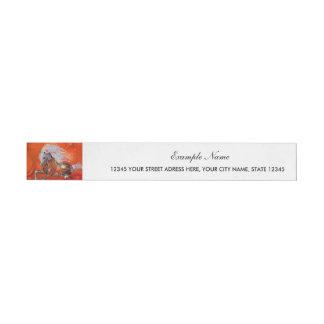 Steampunk, wonderful wild steampunk horse wrap around address label