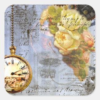 Steampunk y rosas amarillos pegatina cuadrada