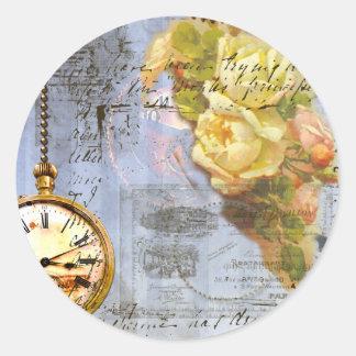 Steampunk y rosas amarillos pegatina redonda