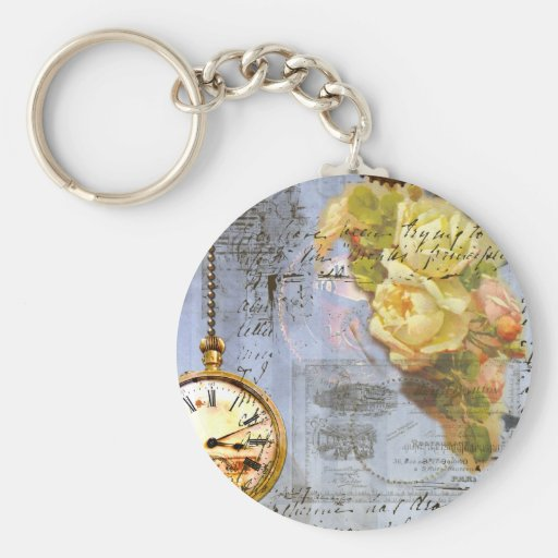 Steampunk & Yellow Roses Basic Round Button Keychain