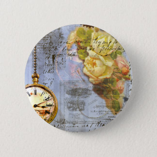 Steampunk & Yellow Roses Button