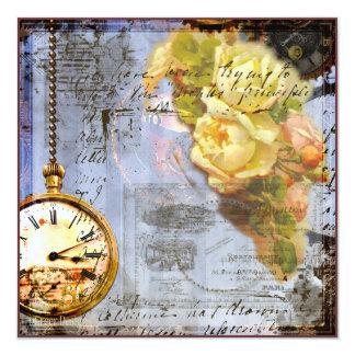 """Steampunk & Yellow Roses Invite 5.25"""" Square Invitation Card"""