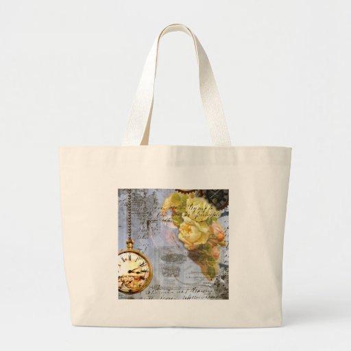 Steampunk & Yellow Roses Jumbo Tote Bag