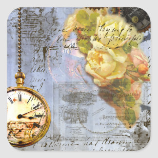 Steampunk & Yellow Roses Square Sticker