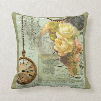 Steampunk & Yellow Roses Throw Pillow