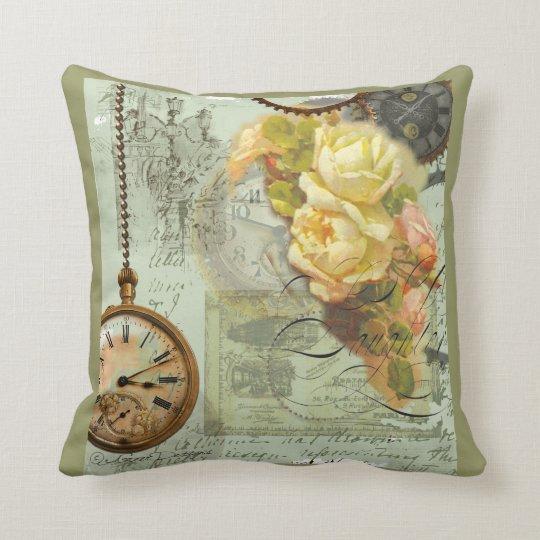 Steampunk & Yellow Roses Throw Pillow
