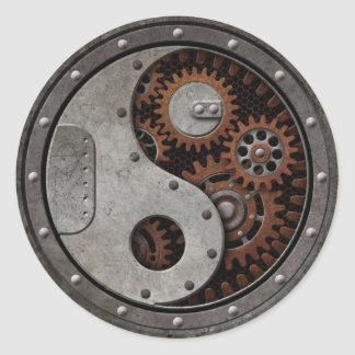 Steampunk Yin Yang Classic Round Sticker