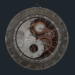 "Steampunk Yin Yang Dart Board<br><div class=""desc"">This unique steampunk yin yang illustration features old rusting gears and solid metal rivets. One side of the yin yang appears to be the inside of a complex machine while the opposite side has the look of a solid piece of steel. Metallic textures and rusting colors give this symbol for...</div>"