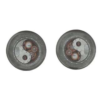 Steampunk Yin Yang Gunmetal Finish Cufflinks