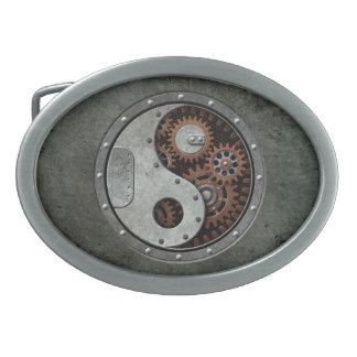 Steampunk Yin Yang Oval Belt Buckles
