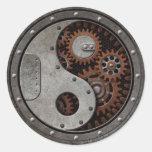 Steampunk Yin Yang Pegatina Redonda
