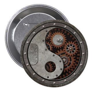 Steampunk Yin Yang Pin Redondo De 3 Pulgadas