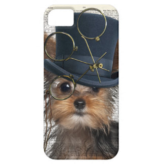 Steampunk Yorkie on a Vintage Dictionary Page iPhone SE/5/5s Case