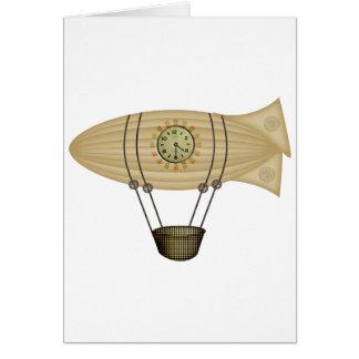 steampunk zeppelin airship card