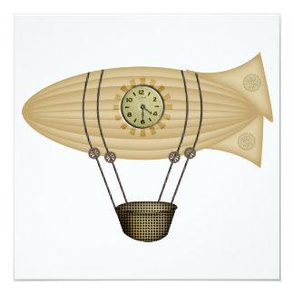 steampunk zeppelin airship invitation