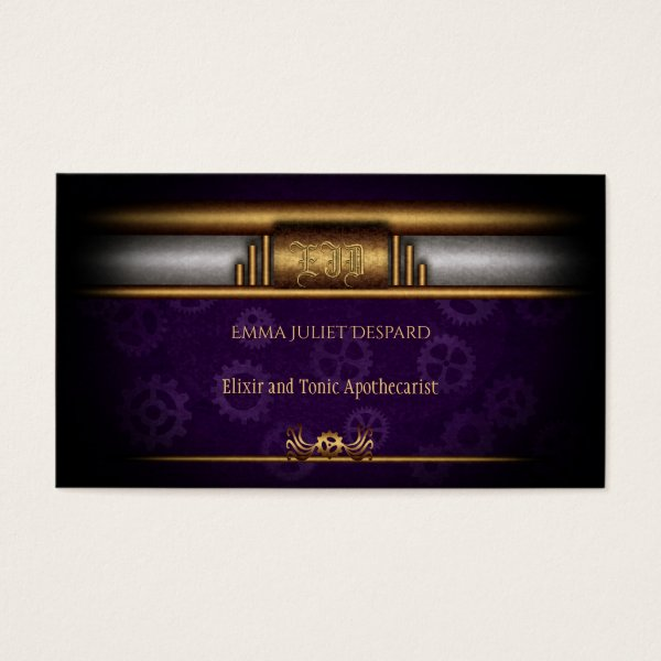 Steampunked Art Deco Style, brass and royal purple Business Card