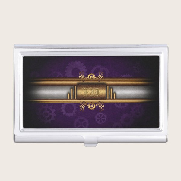 Steampunked Art Deco Style, brass and royal purple Business Card Holder