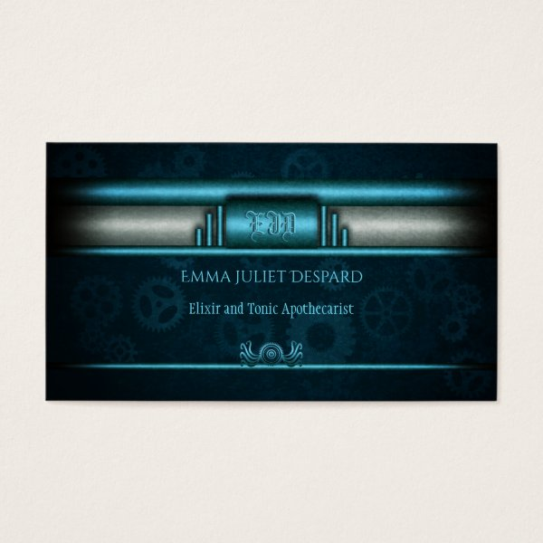 Steampunked Art Deco Style with ice blue and teal Business Card