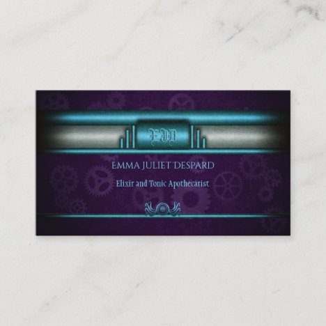 Steampunked Art Deco Style with ice blue, purple Business Card