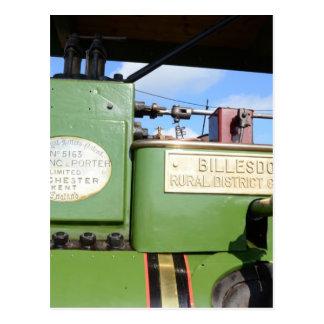 Steamroller del vintage tarjeta postal