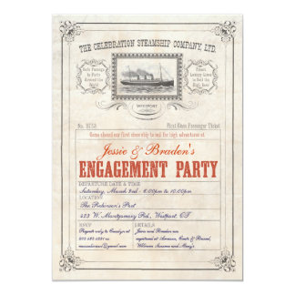 Steamship Cruise Ticket Invite Engagement Party