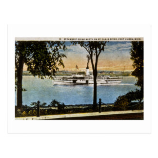 Steamship Going North on St. Clair River, Postcard