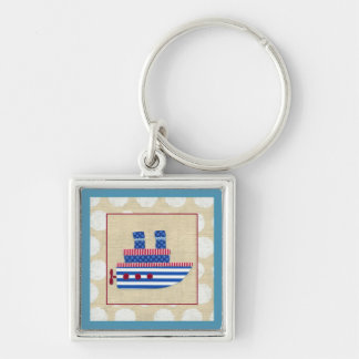 Steamship with Propeller and Blue Smokestacks Keychain