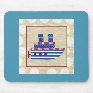 Steamship with Propeller and Blue Smokestacks Mouse Pad