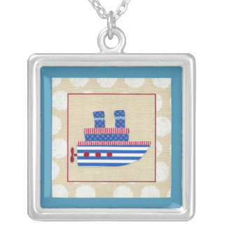 Steamship with Propeller and Blue Smokestacks Silver Plated Necklace