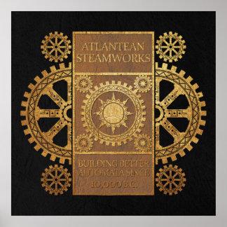 Steamworks de la Atlántida - oro en moreno y negro Posters